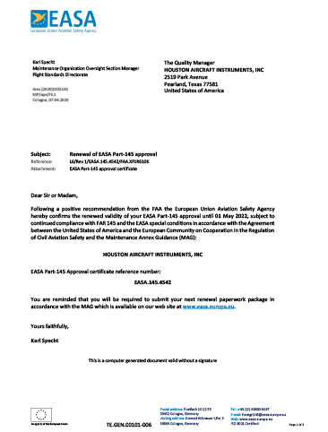 EASA Approval Letter