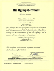 FAA Air Agency Certificate